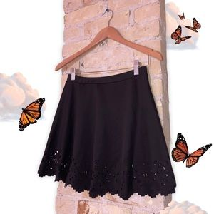 Black Geometric Cutout Skirt